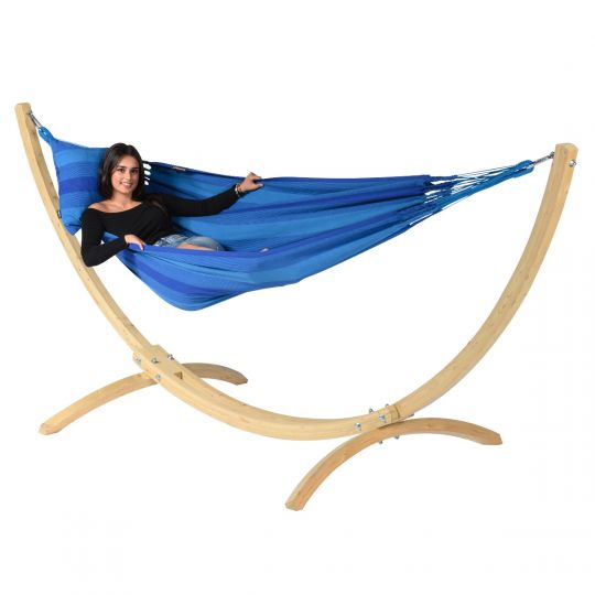 Hängematte mit Gestell 1 Person Wood & Dream Blue