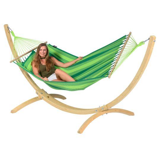 Hängematte mit Gestell 1 Person Wood & Relax Green