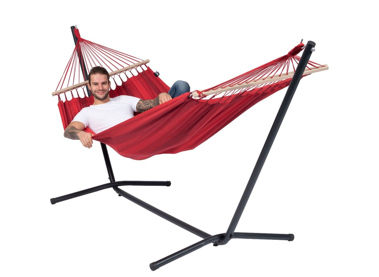 Hängematte mit Gestell 1 Person Easy & Relax Red