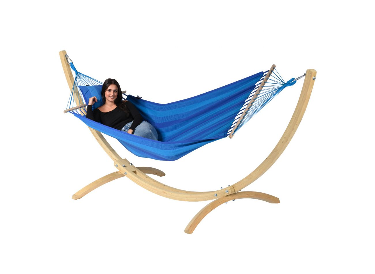 Hängematte mit Gestell 1 Person Wood & Relax Blue